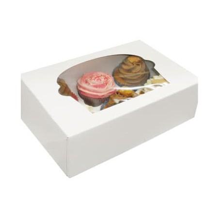 Caja con Soporte para 6 Cupcakes Blanca B-20 (100 Unidades)