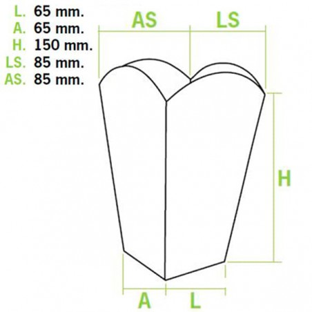 Etuis à Pop-Corn Petit 45g 6,5x8,5x15cm (50 unités)