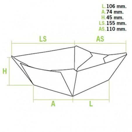 Barquette Carton 350ml 15,6x13,2x3,6cm (1.000 Utés)