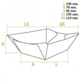 Barquette Carton 350ml 15,6x13,2x3,6cm (50 Unités)