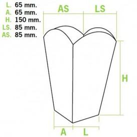Etuis à Pop-Corn Petit Blanc 45 gr 6,5x8,5x15cm (50 Utés)
