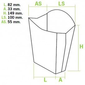 Etuis à Frites Grand 8,2x3,3x14,9cm (400 Utés)