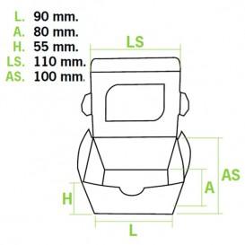 Barquette kraft écologique 11x10x5,5cm 400ml (10 Utés)