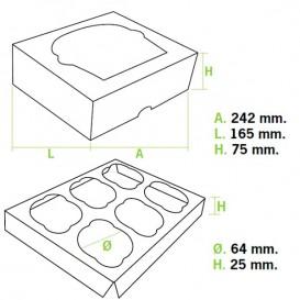 Boîte pour 6 Cupcakes Rose avec support (20 Unités)