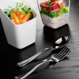 Mini Cuillère Argentée en plastique 10cm (1.000 unités)
