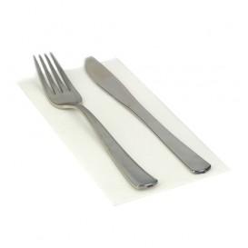 Serviette Papier Molletonnée 1/8 40x40 Blanc (50 Unités)