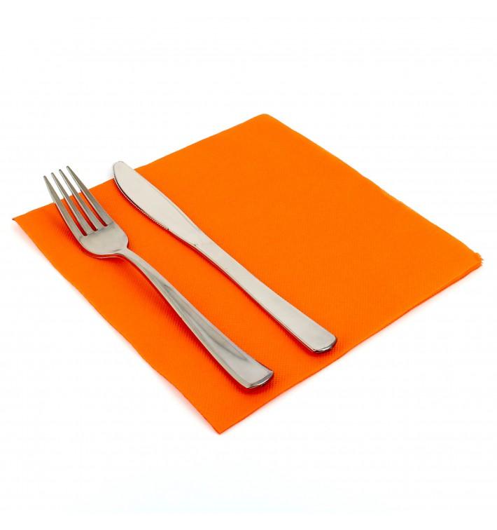 Serviette Papier Molletonnée 40x40 Orange (50 Unités)